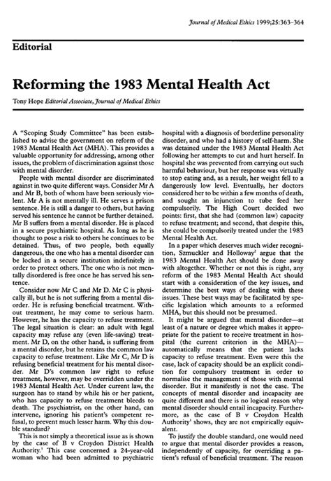 section 61 mental health act reforming the 1983 mental health act journal of medical
