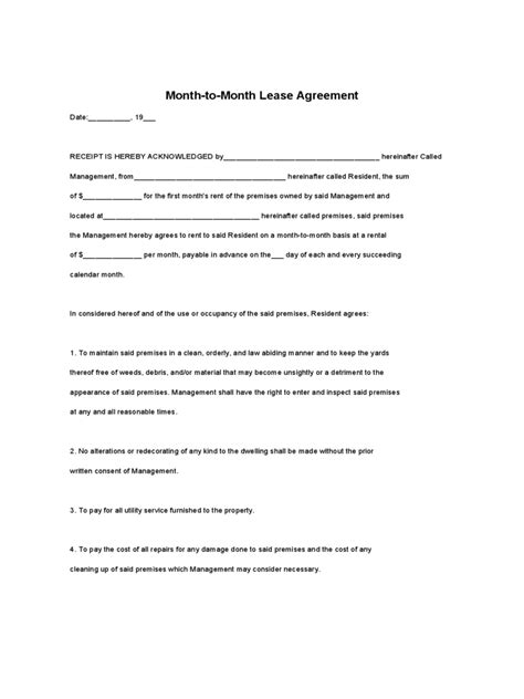 month to month rental agreement forms month to month rental agreement form 86 free templates