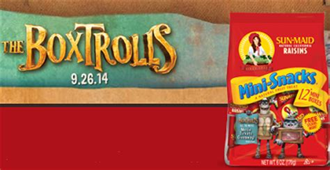 Sun Maid Movie Ticket Giveaway - free sun maid s the boxtrolls back to school movie ticket giveaway