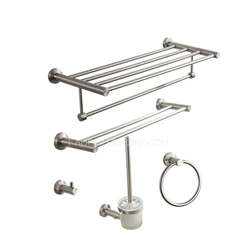 Brushed Nickel Bathroom Accessories Set Modern Brushed Nickel Stainless Steel 5 Bathroom Accessory Sets