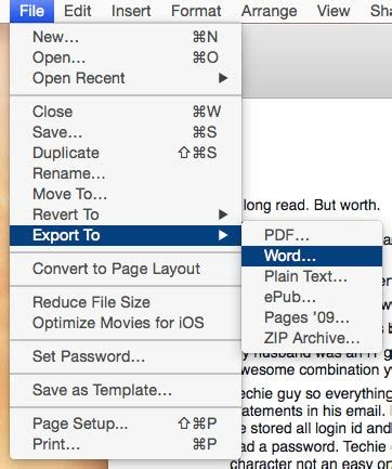 save pages files as word document format on mac os x how to