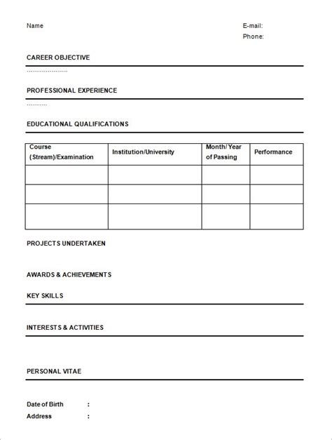 Free 1 Page Resume Template by 1 Page Resume Template Health Symptoms And Cure