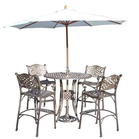 Bar Height Patio Dining Sets Oakland Living 7 Cast Aluminum Patio Bar Height Dining Set Table And 9 Ft Crank