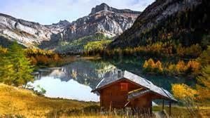 mountain lakes house lake house mountain alps grass autumn trees 1 dd