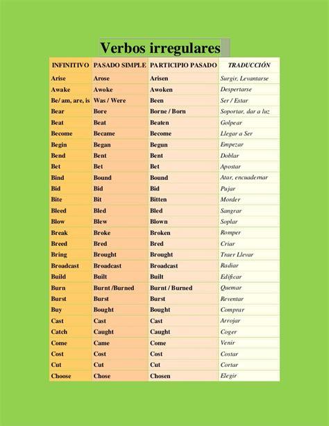 lista de verbos regulares e irregulares slideshare verbos irregulares