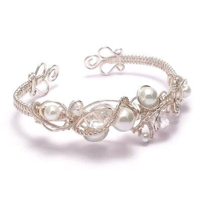 Handmade Wedding Jewellery - and pearl wire weave bridal cuff bracelet