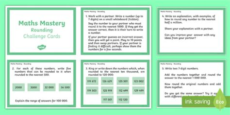 year 6 maths challenge cards year 6 maths mastery rounding challenge cards rounding