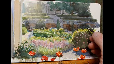 painting a flower garden in watercolor