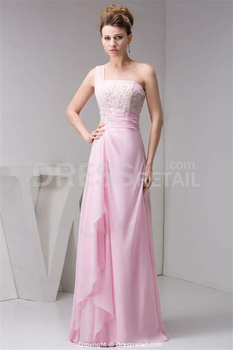 Silk Pink Dress one shoulder light pink silk prom dress sang maestro