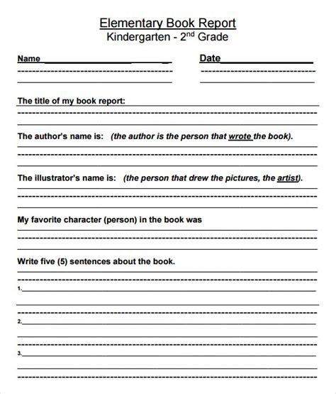 10 Book Report Templates Free Sles Exles Format Sle Templates Book Report Template 2nd Grade Free
