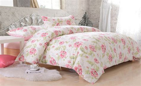 country cottage pink flower cotton satin duvet cover set