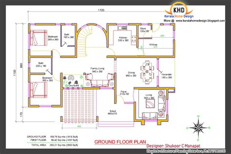 Beautiful 2853 Sq Ft 4 Bedroom Villa Elevation And Plan Kerala Home Design Ground Floor