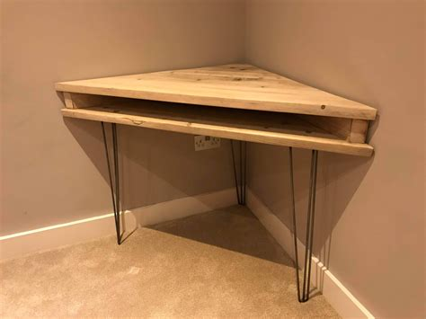 Pine Corner Desks Reclaimed Rustic Solid Pine Corner Box Desk With Metal Hairpin Legs Newco Interiors Bespoke