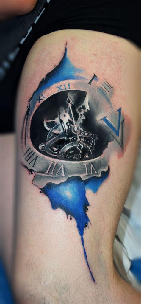 watercolor tattoo watch clock watercolour clock watercolor watercolor