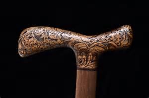 Custom Made Custom Walking Walnut Wood And Pyrography By