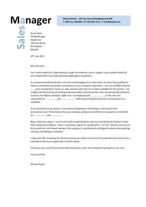 Cover Letter For The Post Of Area Sales Manager by Sales Manager Cv Exle Free Cv Template Sales
