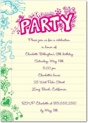 13th birthday party invitation for girls new party ideas