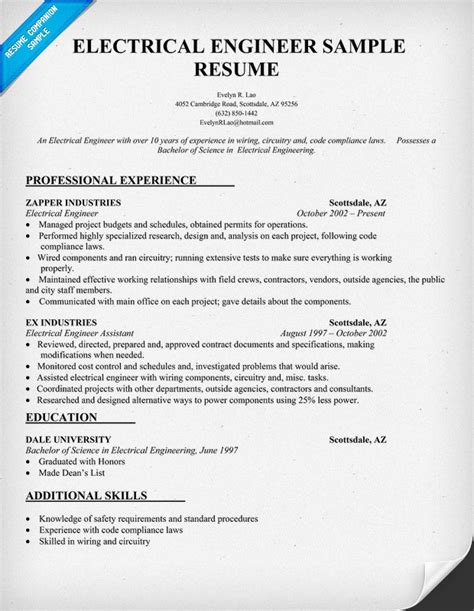 electrical engineer resume sles electrical engineer resume sle resumecompanion