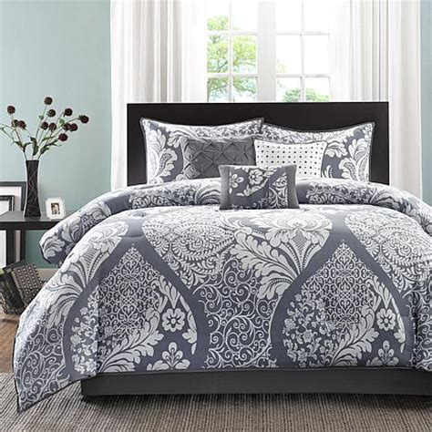 madison park vienna gray comforter set queen 7903367 hsn