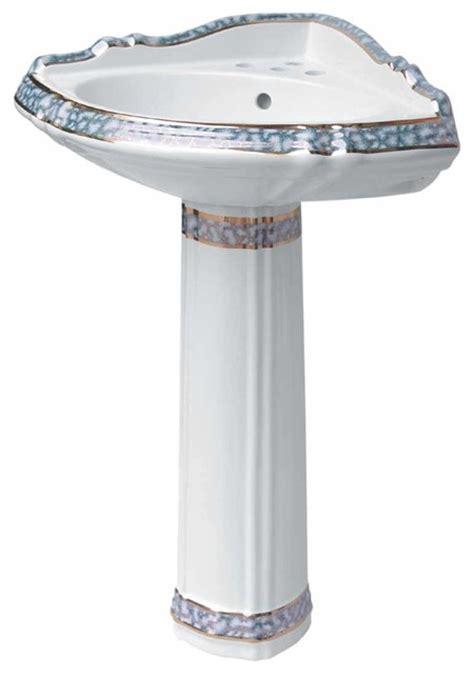 corner pedestal sink corner sinks white vitreous china sheffield pedestal cobalt painted traditional bathroom