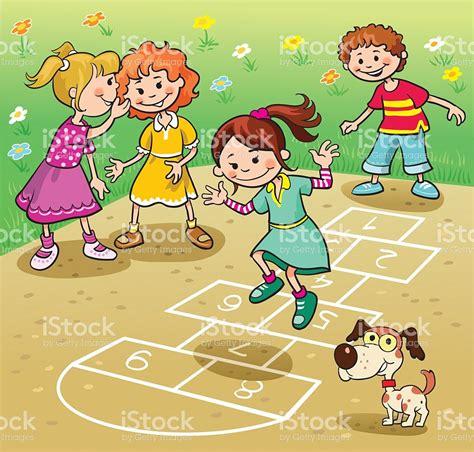 Imagenes De Niños Jugando La Rayuela | ni 241 os jugando rayuela illustracion libre de derechos