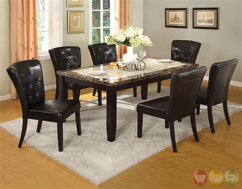 belleview i black casual dining set with faux marble table