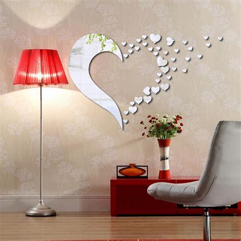 shape mirror home 3d wall stickers decor diy