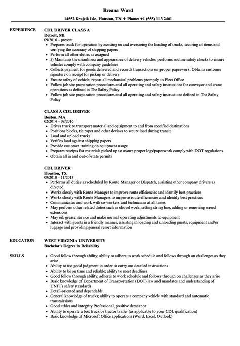 Cdl Resume by Cdl Driver Resume Sles Velvet