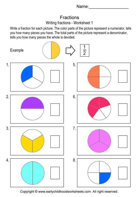 Easy Fraction Worksheets by Writing Fractions Related Keywords Writing Fractions
