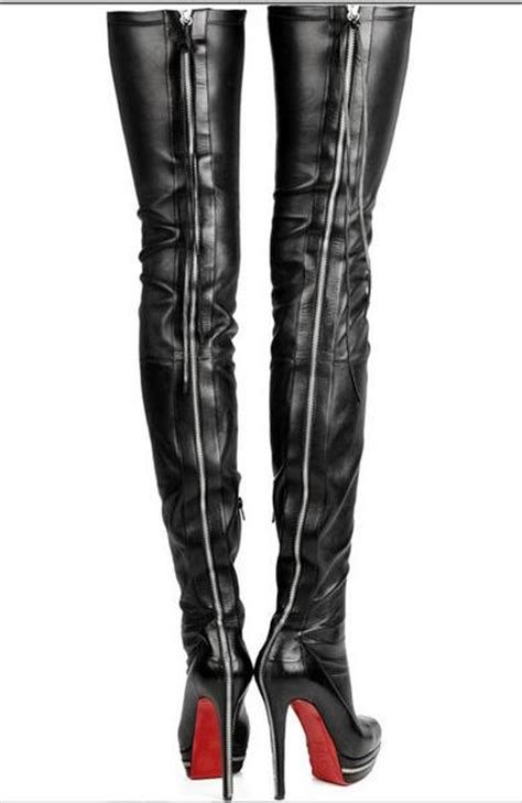bottom genuine leather thigh high boots thuli nyc