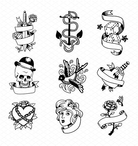 tattoo old school symbols old school tattoo element vector illustrations