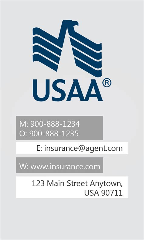 usaa insurance card template white usaa business card design 205011