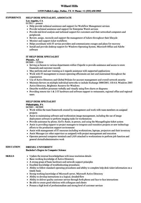 help desk specialist resume sles velvet