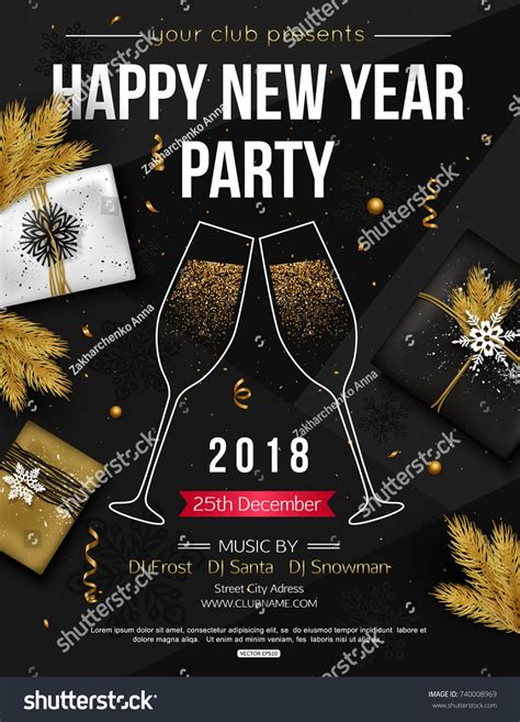 flyer design new happy new year party flyer template stock vector 740008969