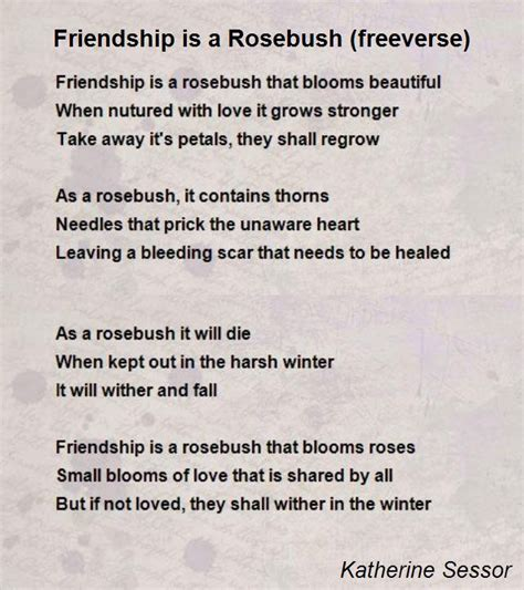 free poems friendship is a rosebush freeverse poem by katherine
