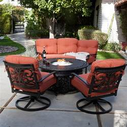 Outdoor Patio Furniture With Fire Pit by Belham Living San Miguel Cast Aluminum Sofa Fire Pit Chat