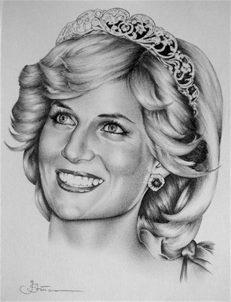 2 princess diana original pencil drawings portrait fine art