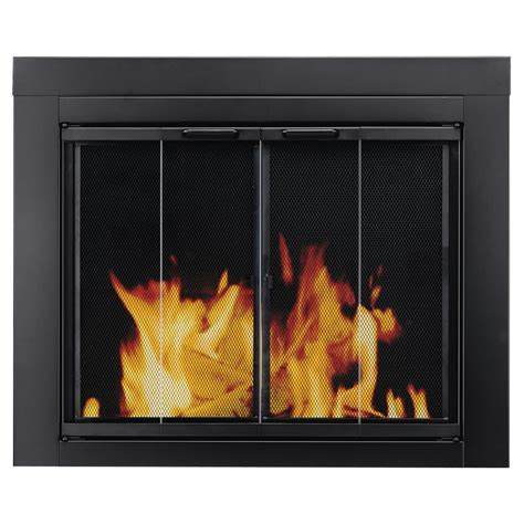 Pleasant Hearth Ascot Large Glass Fireplace Doors At 1002 Oversized Fireplace Screens