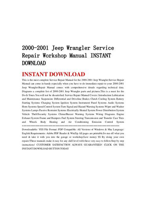 2000 jeep tj service manual shop repair workshop wrangler ebay 2000 2001 jeep wrangler service repair workshop manual instant downlo