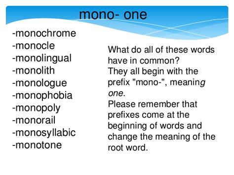 what is the origin of the word mono prefix lesson