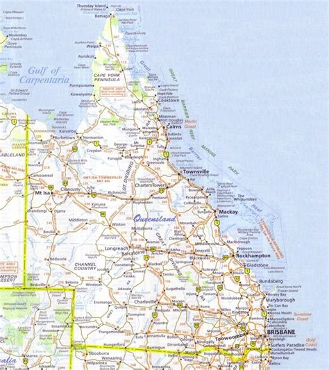 printable qld road map queensland map detailed