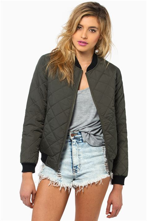 Quilted Jackets Womens Outerwear by Green Quilted Bomber Jacket Jacket