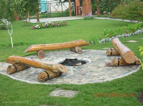 diy log seating around pit that s interesting