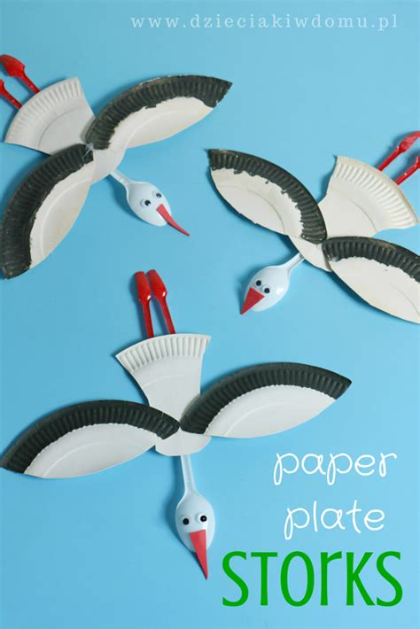 Paper Plate Seagull Craft - paper plate stork craft for animal crafts
