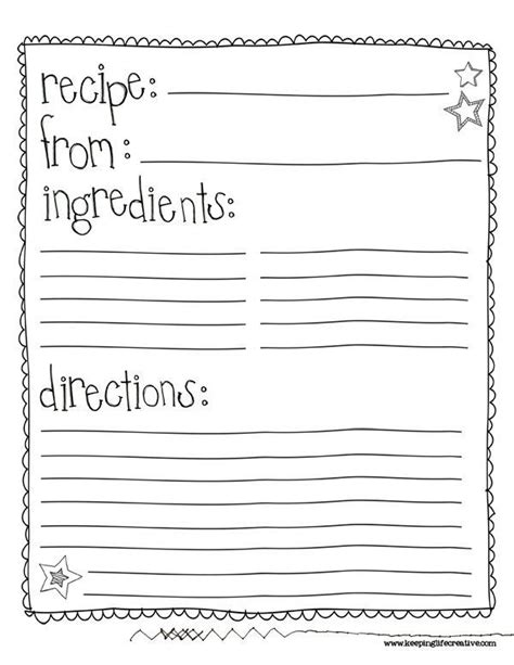 preschool cookie recipe card template class recipe book template search auction ideas