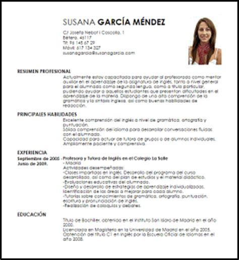 Modelo Curriculum Vitae En Inglés Modelo Curriculum Vitae Tutor De Ingl 233 S Livecareer
