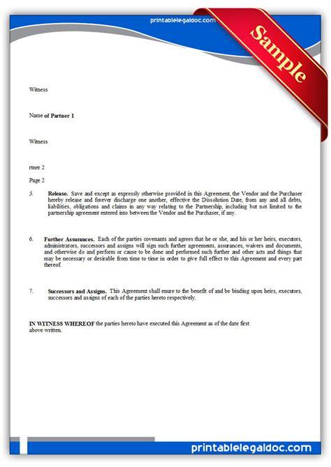 Free Printable Partnership Dissolution Agreement Form