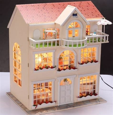 dolls house with lights fairy homeland diy wooden dollhouse lighting three storeyed house gift with light jpg