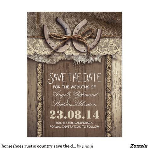 horseshoes rustic country save the date postcards zazzle