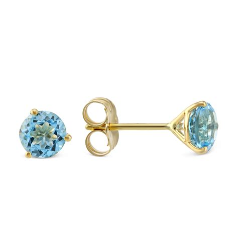 14k Yellow Gold Stud Earrings 14k yellow gold blue topaz stud earrings borsheims